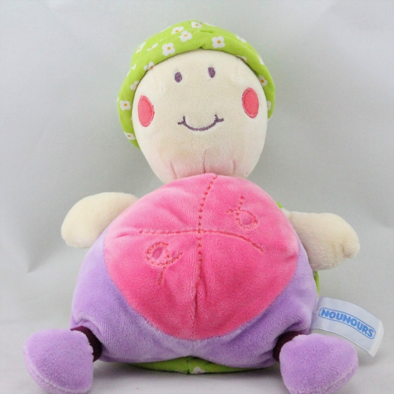 Doudou tortue rose mauve vert fleurs NOUNOURS