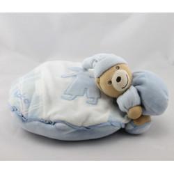 Doudou coussin ours blanc bleu enfant KALOO