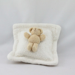 Doudou musical coussin blanc ours beige TROUSSELIER