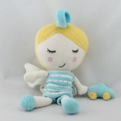 Doudou musical poupée ange bleu blanc voiture DPAM