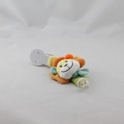 Doudou attache tétine lion jaune orange bleu NICOTOY