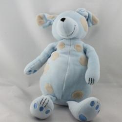 Doudou chien bleu tache beige OBAIBI