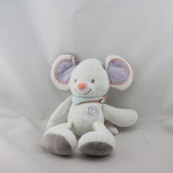 Doudou souris blanche grise foulard NATTOU 30 cm
