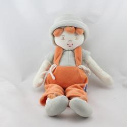 Doudou poupée garçon gris orange chapeau Sucre d'orge