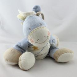 Doudou bébé poney bleu beige écru étoile KIABI