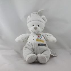 Doudou musical ours blanc gris pois MOTS D'ENFANTS