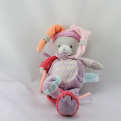 Doudou chat gris rose mauve rouge orange anneau BABY NAT