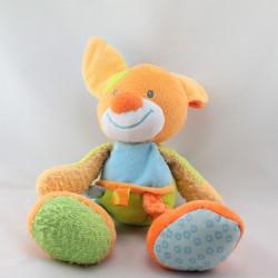 Doudou chien orange bleu vert Funny Farmer NATTOU