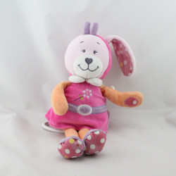 Doudou musical lapin rose orange violet fleur pois TEX BABY