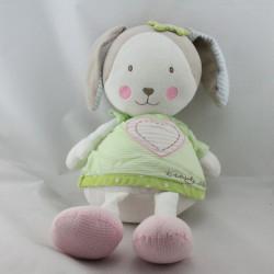 Doudou lapin blanc beige vert rose coeur Beauty Sleep BABY SUN