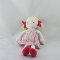 Doudou poupée fille blonde robe blanche rose coeurs pois OBAIBI
