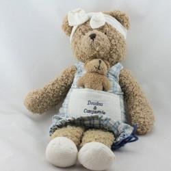 Doudou et compagnie ours beige robe carreaux bleues avec bébé