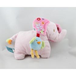 Doudou éléphant rose oiseau bleu BEBEREVE