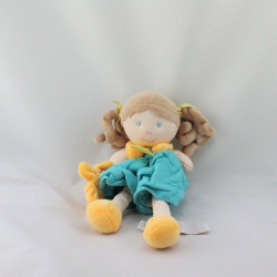 Doudou et compagnie poupée lutin fille mademoiselle Graffitis turquoise jaune