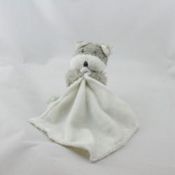 Doudou ours gris blanc mouchoir CARTOON CLUB