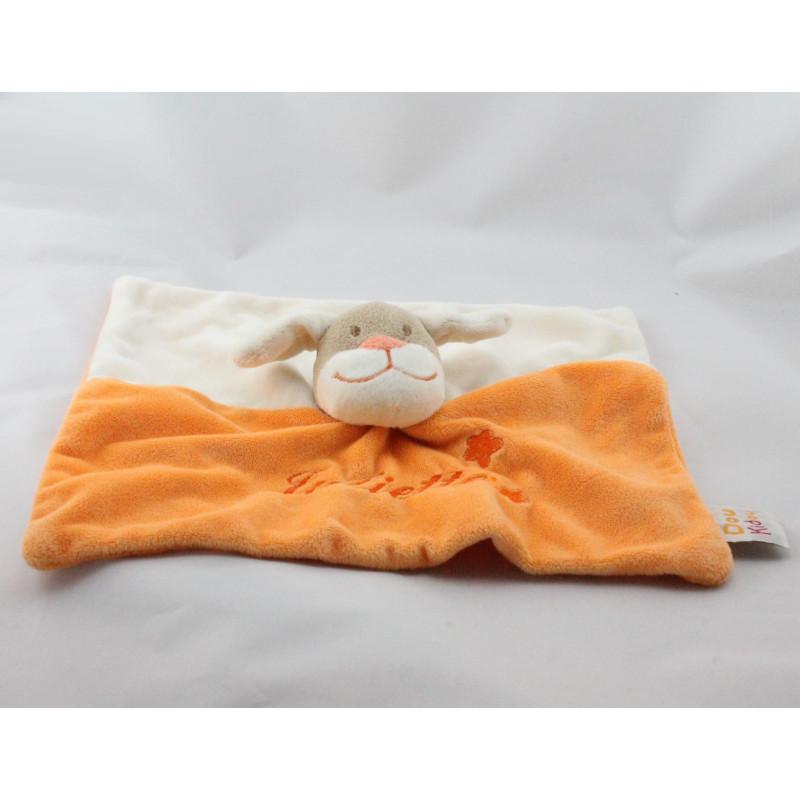 Doudou plat chien beige orange étoile DOUKIDOU
