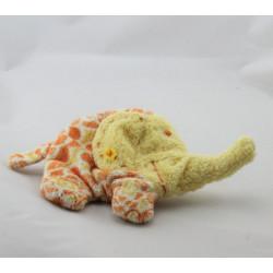 Doudou plat éléphant jaune orange fleurs HAPPY HORSE