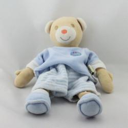 Doudou ours beige bleu rayé BESTEVER 2010