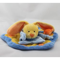 Doudou plat lapin bleu  jaune orange étoile soleil BABY LUNA