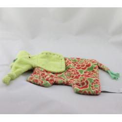 Doudou plat éléphant vert rouge fleurs HAPPY HORSE