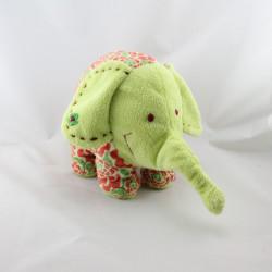 Doudou éléphant vert rouge fleurs HAPPY HORSE