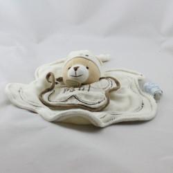 Doudou et compagnie plat fleur ours blanc beige brodé