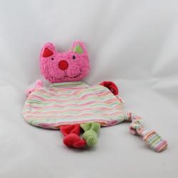 Doudou plat chat rose rouge vert rayé KATHE KRUSE