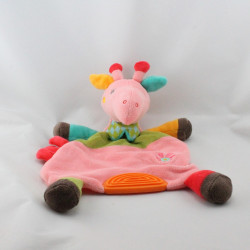 Doudou plat girafe rose vert rouge orange BABYSUN