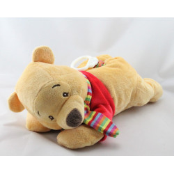 Doudou musical winnie l'ourson rouge fleurs allongé DISNEY BABY
