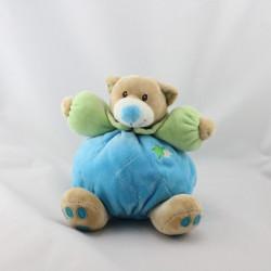 Doudou ours boule bleu vert TOODO
