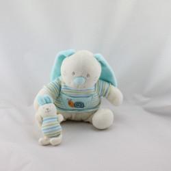 Doudou lapin blanc bleu rayé escargot MAXITA