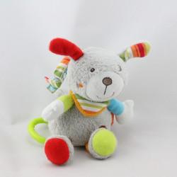Doudou musical lapin chien gris rouge orange vert BABYSUN