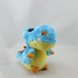 Doudou peluche crocodile bleu jaune YOOHOO