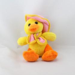 Doudou canard jaune orange chapeau écharpe rose