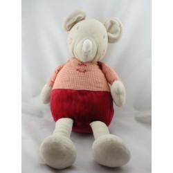 Doudou range pyjama Souris beige vichy rouge SUCRE D'ORGE