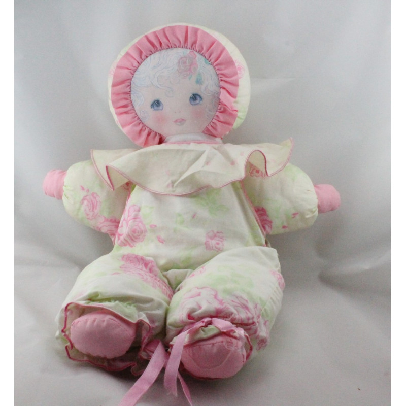 Ancienne poupée chiffon rose blanc vert fleurs Christine et Cécile MUNDIA
