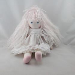 Ancienne Poupée Tissu robe blanche cheveux blanc MUNDIA