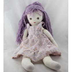 Ancienne Poupée Tissu robe mauve cheveux mauve MUNDIA