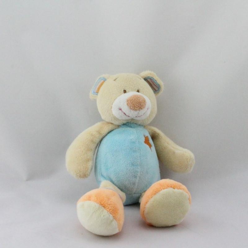 Doudou ours beige bleu orange étoile DOUKIDOU