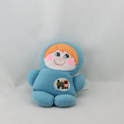 Ancien doudou poupée garçon bleu train PLAYSKOOL 1978