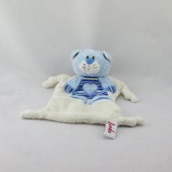 Doudou plat chat blanc bleu coeur TOODO