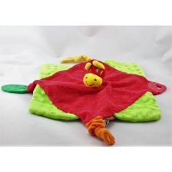 Doudou plat zébre girafe rouge vert jaune orange BABYMOOV