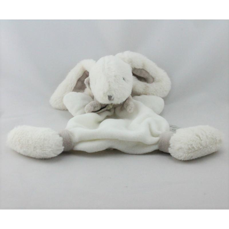 Doudou et Compagnie plat lapin blanc beige tout doux Bonbon