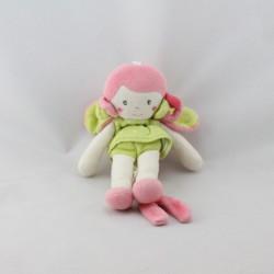 Doudou poupée fille rose vert attache tétine SUCRE D'ORGE