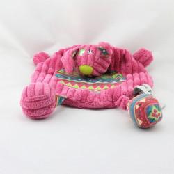 Doudou plat chien lapin rose motifs GLOBE TROTOYS CORA