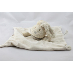 Doudou plat lapin écru beige marron NATURE ET DECOUVERTE