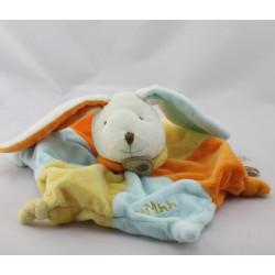 Doudou plat étoile Lapin blanc bleu jaune orange Baby nat