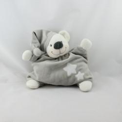 Doudou semi plat ours gris blanc étoiles BOUTCHOU