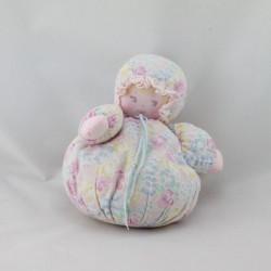Ancienne poupée chiffon boule fleurs rose bleu COROLLE