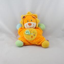 Doudou semi plat lion orange vert bleu jaune feuille POMMETTE